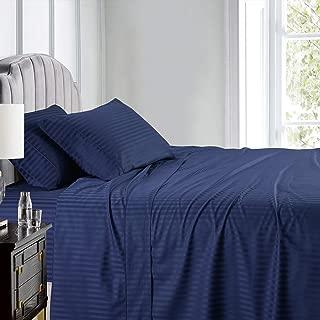 Royal Hotel Stripe Sheets - Top Split-Cal King: Adjustable California King Bed Sheets - 4PC Bed Sheet Set - 100% Cotton - 600 Thread Count - Deep Pocket, Top Split California King, Navy