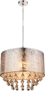 Globo 15188H3 - Lámpara de techo colgante de cristal para dormitorio, color plateado