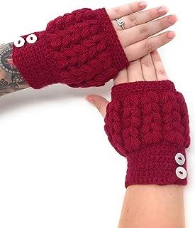 Women's Alpaca Wool & Acrylic Crochet Texting Gloves - Fingerless Mittens - Wrist, Hand & Arm Warmers
