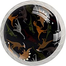 Lade knop Pull handvat 4 stuks Crystal Glass Cabinet lade trekt kast knoppen, donker dinosaurussen patroon