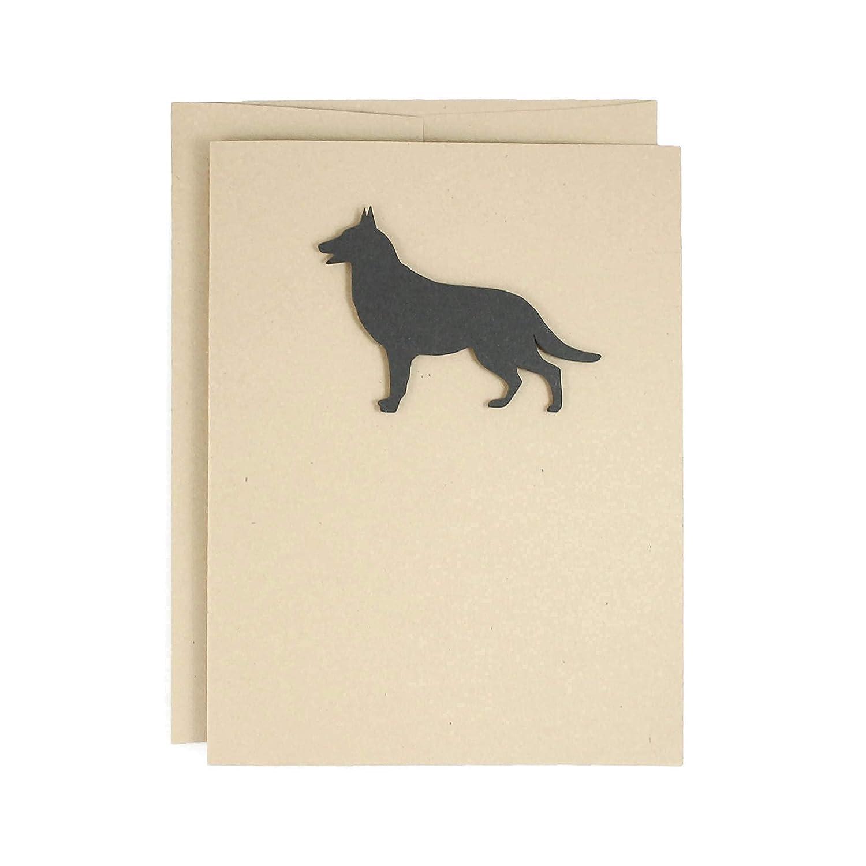 German Shepherd Bombing new work Max 65% OFF Blank Greeting Card Dog Handmade Silhoue Black