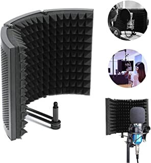Konesky Microphone Isolation Shield, Studio Mic Sound Absorbing Foam Reflectort 3 Foldable Panel Insulation Diffuser/Noise Deadening/Absorbing/Barrier for Audio Microphone Recording