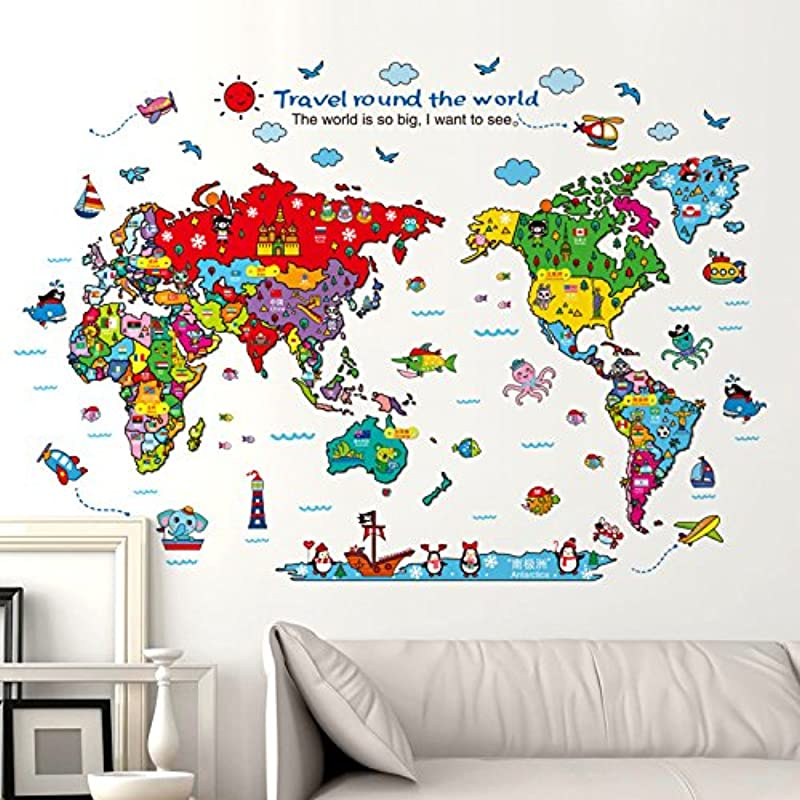 KiKi Monkey Cartoon Background Colorful English Words World Map Wall Art Decals Stickers Vinyl For Kids Rooms Parlour Television Wall Home Colourful