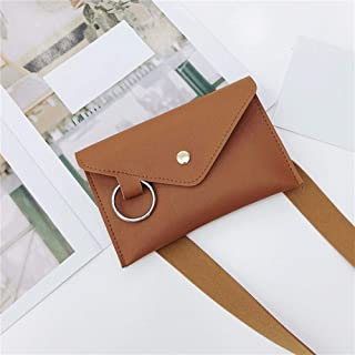 YWSCXMY-AU Fashion Women Pure Color Ring Leather Waist Bag Casual Messenger Shoulder Bag Chest Bag Multi-Function Pockets (Color : Brown)