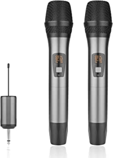 Wireless Microphone Mic Dual Cordless Handheld Mic System 25 Channel UHF with Mini Portable Receiver,328ft,3.5&6.35mm Port,for Home/Church/Wedding/Stage Performance/Speech/Meeting,Dual