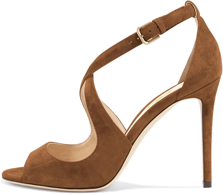 FSJ Women Sexy Faux Suede Sandals Peep Toe Stiletto Heels Pumps Cross Strap Cutout shoes Size 4-15 US