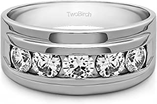 TwoBirch 1/2 Ct. Five Stone Channel Set Men's Ring in 14k White Gold Plated Alloy with Cubic Zirconia