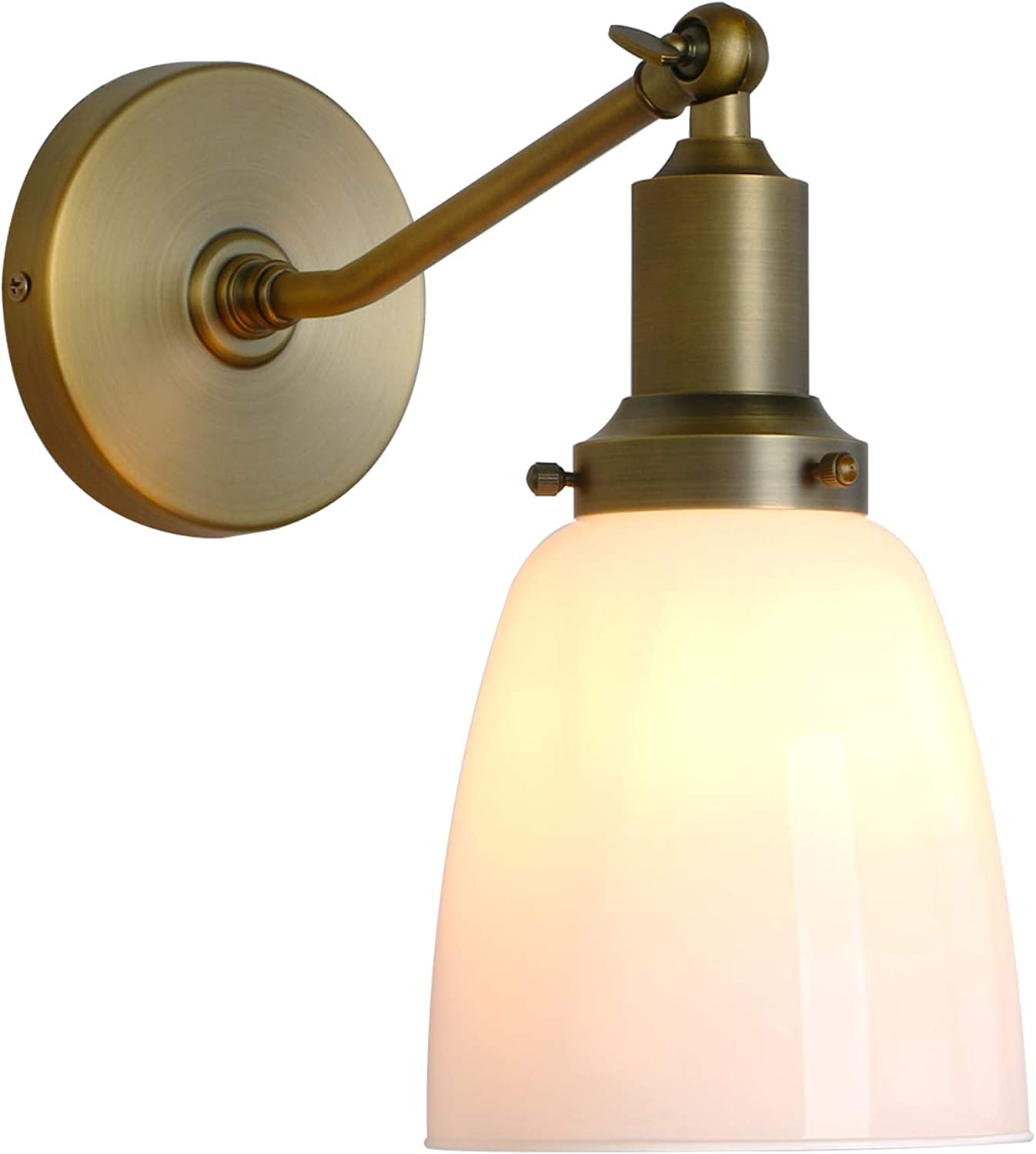 Permo Industrial Vintage Slope Pole Wall Mount Single Sconce with 5.5  Oval Dome Milk White Glass Shade Wall Sconce Light Lamp Fixture (Antique)