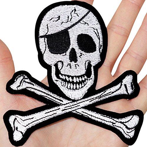 Gran Calavera huesos bordado Sew de hierro en parche pirata Camisa Sombrero Disfraz Badge