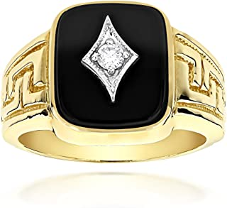 Mens 14k Gold Natural Black Onyx and 0.1 Ctw Diamond Ring For Him