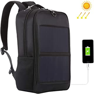 Multi-Functional Backpack, Outdoor Sports Bag, per HAWEEL 14W Solar Panel Power Backpack Laptop Bag with Handle and 5V / 2.1A Max Dual USB Charging Port (Color : Black)