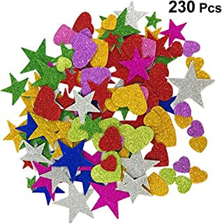 Healifty Glitter Foam Stickers Self-Adhesive Stars Colorful Mini Heart Shapes Glitter Stickers Kids Arts Craft Supplies Assorted Colors and Sizes