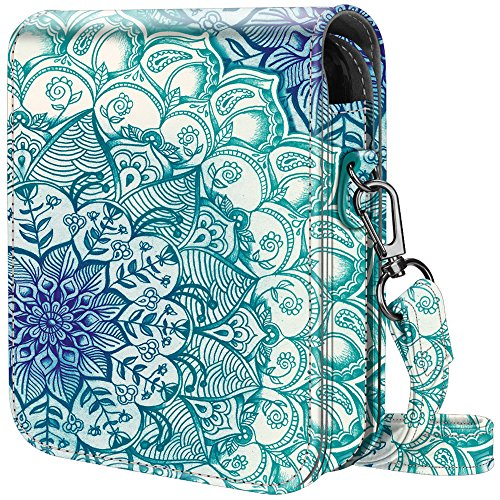Fintie Protective Case for Polaroid POP 2.0 2 in 1- Premium Vegan Leather Bag Cover with Removable Strap for Polaroid POP 2.0 3x4 Instant Print Digital Camera, Emerald Illusions