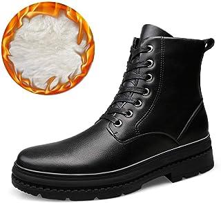 9c7a1dfcf Fuxitoggo Botines para Hombre, Casual HIGT Top Suave Cuero Genuino Redondo  Cordones Martin Boots (
