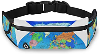 Men Women Fanny Pack WORLD MAPS PRINTABLE Running Belt with Extender Belt, Bounce Free Pouch Bag, Workout Belt Sports Waist Pack Belt Pouch for Running Walking Cycling Gym Marathon Fitness Exercise