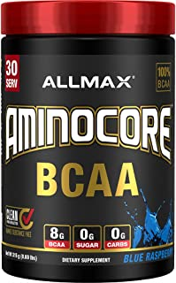 AMINOCORE BCAA – 8G BCAAs – 100% Pure Branch Chained Amino Acids – Gluten Free - Blue Raspberry - 315-Gram