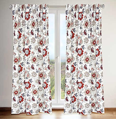 """LJ Home Fashions 432 Tracy Jacobean Floral Print Hidden Tab Top Curtain Panels (Set of 2) 54"""" W x 88"""" L, White/Grey/Linen Red/Barnyard Red"""
