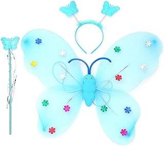 Girl Headband, Elevin(TM) 3pcs Girls Led Flashing Light Fairy Butterfly Wing Wand Headwear