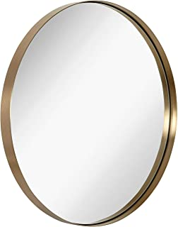 Hamilton Hills Contemporary Brushed Metal Gold Wall Mirror | Glass Panel Gold Framed Rounded Circle Deep Set Design (30