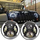 Lot de 2 œil d'ange 17,8 cm 60 W rond LED Moto Phare Auto pièces de rechange pour Harley Davidson Jeep Wrangler TJ JK LJ Camion lampe frontale