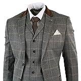 Cavani Abito Classico 3 Pezzi da Uomo Completo Formale in Tweed Beige a Scacchi Beige 40UK, 50IT
