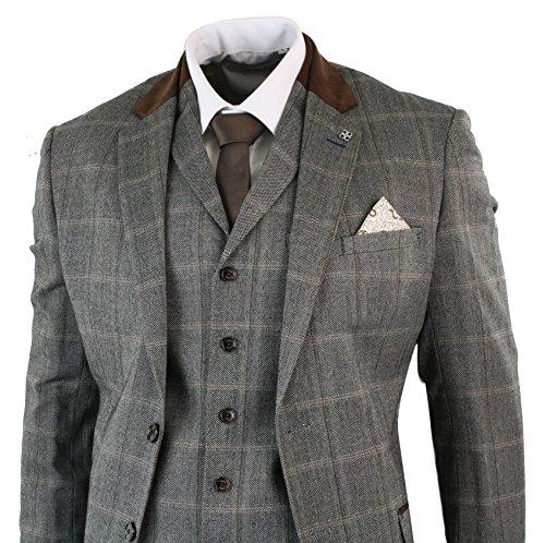Cavani Abito Classico 3 Pezzi da Uomo Completo Formale in Tweed Beige a Scacchi Beige 38UK, 48IT