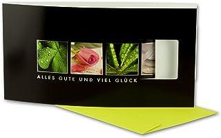 Glückwunschkarten-Set - Alles Gute & Viel Glück - Karte mit Ausstanzung - Verschluß - mit limette-farbenem Umschlag 80 Stück DIN Lang 22x11 cm B07G3B54YS  Adoptieren