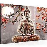 Decoración de la mesa de Buda Mural - 120 x 80 cm Vista de impresión en lienzo Salón Apartamento - listo para colgar - 500631b