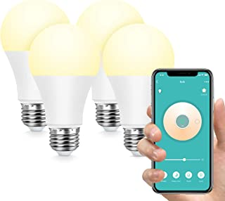 Konke Smart WiFi LED Bulb Dimmable, E27,9W,Compatible with Alexa,Google Home,Assistant,No Hub Required, Colour Temp Adjustable,White,4Pack