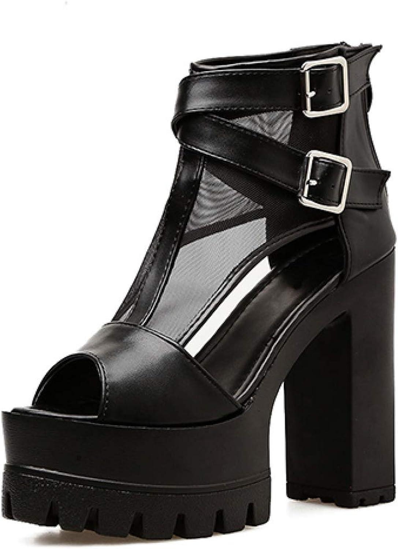 T T T -JULY -täcke för hälar Plattform Kvinnor Sandaler Fotskor Zipper svart Peep Toe sommar Party skor Kvinnlig Mes  begränsad utgåva