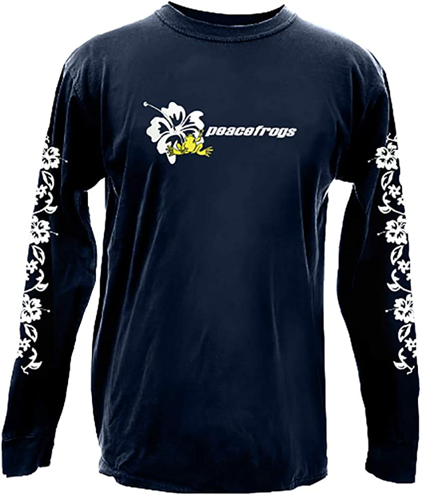 Peace Frogs Navy Hibiscus Long Sleeve Youth T-Shirt
