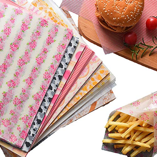 50 Sheets Wax Paper Food Picnic Paper Disposable Food Wrapping Greaseproof Paper Food Paper Liners Wrapping Tissue for Plastic Food Basket (Pink Stripe)