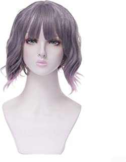 Heat Resistant 230 °F 14 inch Gray Pink Ombre Blunt Cut Bob Wigs With Bangs,short Shoulder Body Wave Curly Synthetic Wig For Women, Girls Wig For Party,Cosplay, Costume, Dating