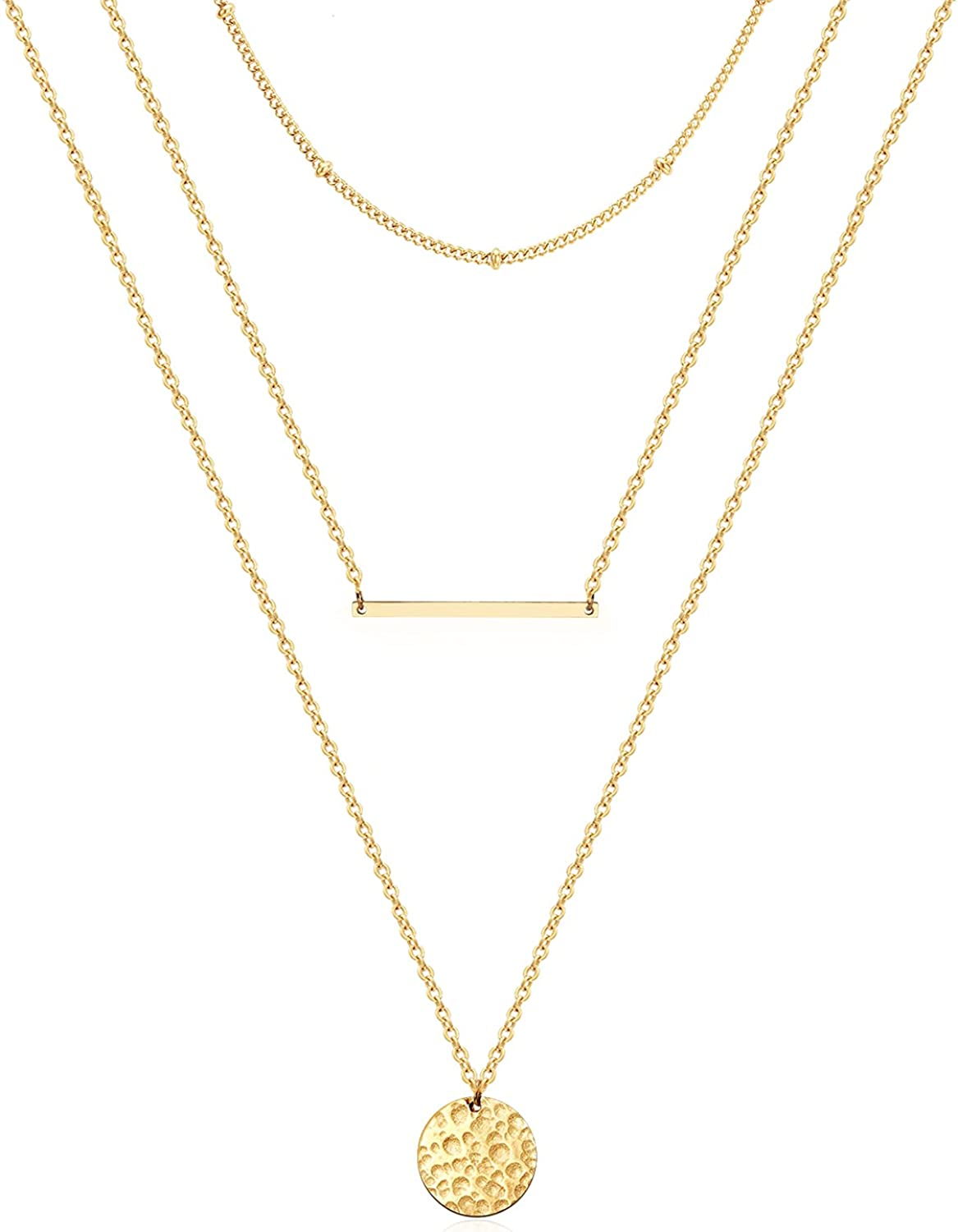 Ldurian Dainty Circle Karma Choker Necklace 14K Real Gold Plated Delicate Circle Necklace for Women