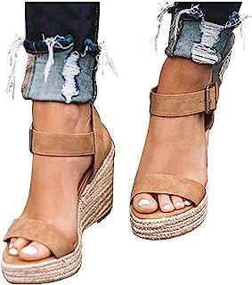 Kledbying Wedges Sandals Women's Fish Mouth Espadrilles Slingback Platform Sandals High Heel Ankle Strap Beach Shoes