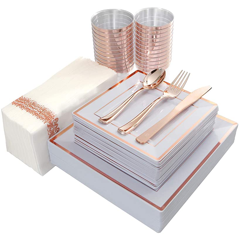 IOOOOO 175PCS Plastic Square Plates, Napkins, Rose Gold Disposable Silverware & Cups, 25 Guest Set: 25 Dinner Plates, 25 Salad Plates, 25 Forks, 25 Knives, 25 Spoons, 25 Tumblers 10oz, 25 Guest Towels