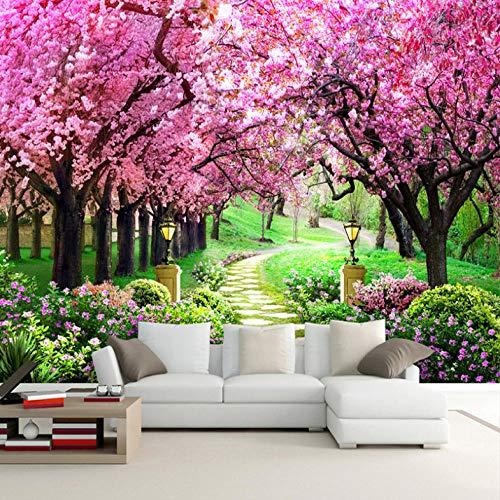 Papel Pintado 3D Murales Flores de cerezo rosa sol - Fotomurales Para Salón Natural Landscape Foto Mural Pared, Dormitorio Corredor Oficina Moderno Festival Mural 200x150 cm - 4 tiras