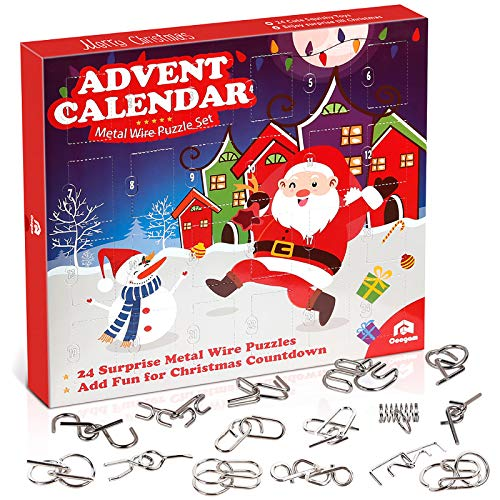 Coogam Metal Wire Puzzle Toys Advent Calendar, 2020 Christmas Countdown Calendar Decoration Gift Box Set of 24pcs Brain Teaser Toy for Count Down Xmas Holiday Party Favor Kid (Upgraded Version)
