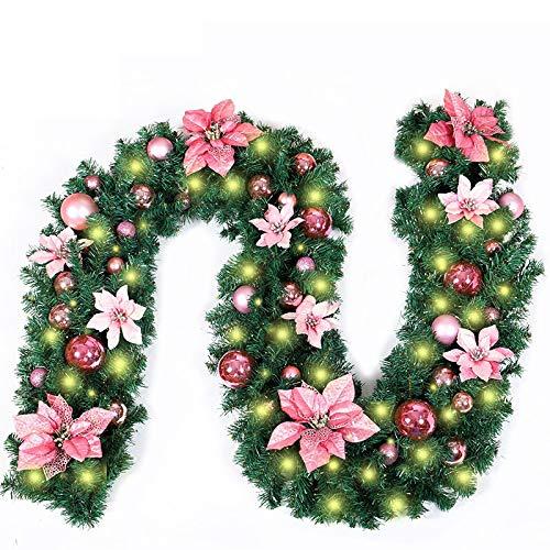 Treer Ghirlanda Di Natale Decorazioni Illuminato Con Luci A LED, Artificiale Rattan Natalizio A Batteria Con 8 Modalità Luminose Per Feste Di Festive Xmas Decorazione (Bianco Caldo,Rosa)
