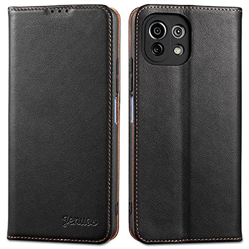 Jenuos für Xiaomi Mi 11 Lite 5G/4G Hülle Leder,Mi 11 Lite Handyhülle Klappbar Schutzhülle Flip Cover mit [Magnetic Closure] [Card Slot] [Kickstand] -Schwarz(M11L-PD-BK)