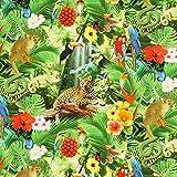 Fabulous Fabrics Halbpanama grasgrün, Blume, 140cm breit