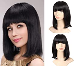 HUA Straight Human Hair Wigs with Bangs 12 Inch Shoulder-length Wigs for Black Women Brazilan Virgin Hair Natural Black Full Machine Made Wig Cap