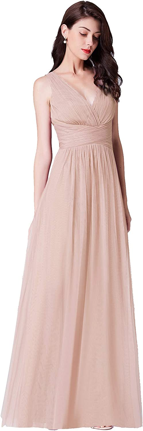 Ever-Pretty Women's Free shipping on posting reviews Double V-Neck Floor-Length Max 81% OFF Dress Bridesmaid