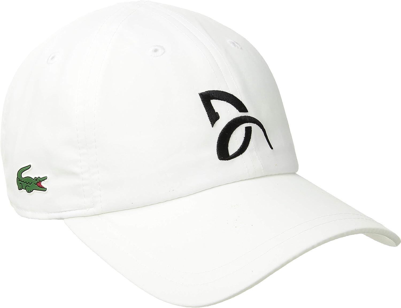 Lacoste Mens Sport Novak Microfiber Tennis Cap Cap, White, One Size at  Men's Clothing store