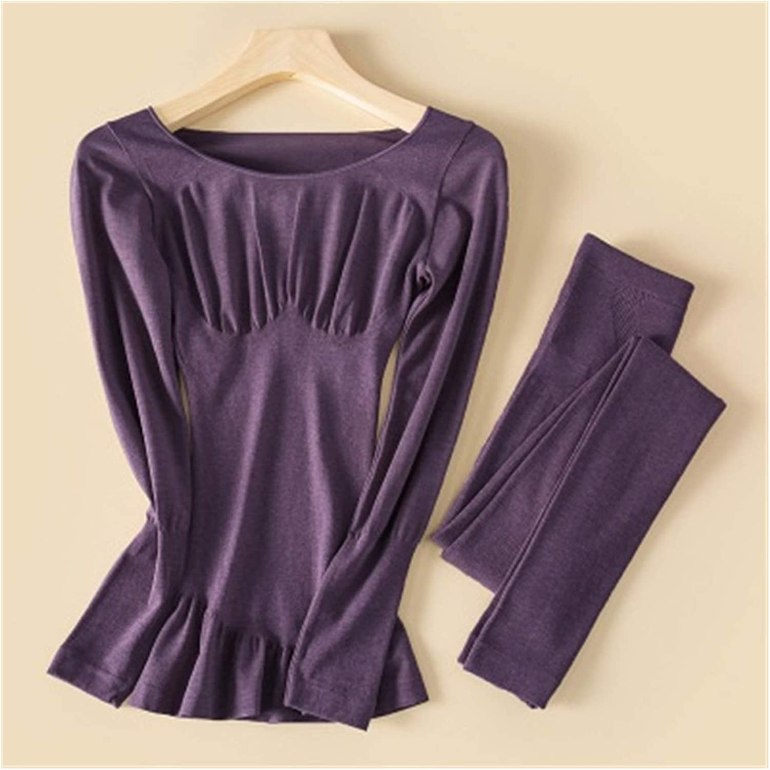 Glqwe Woman Thermo Underwear Autumn Winter Acrylic Fever Yarn Thermal Underwear Seamless Long Johns Elastic Women Body Shaper (Color : Purple, Size : One Size)