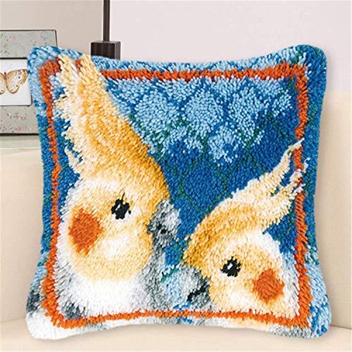 Mirui Kit de ganchos para colgar para adultos, funda de almohada con patrón de loro colorido, costura a mano, punto de cruz de ganchillo para gran familia, 43 x 43 cm, B, con relleno de almohada.