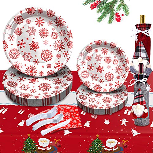 Eaaglo 183Pcs Christmas Paper Plates, Christmas Paper Plates and Napkins, Christmas Plates Party Supplies for Christmas Decorations Disposable Dinnerware Set Holiday Dinner Snowflake Paper Plates