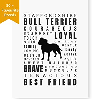 Dog Décor Staffordshire Bull Terrier Print Artwork - Wall Art Quotes for Home (8.5x11 Unframed) Pet Memorial Gifts | Dog Mom Gifts | New Puppy Gifts | Keepsake Gifts for Dog Lovers