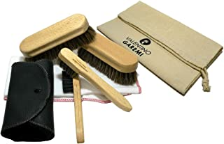 Valentino Garemi Shoe Care Set Cleaning Polishing Buffing Complete Brush Kit Set for Leather Materials