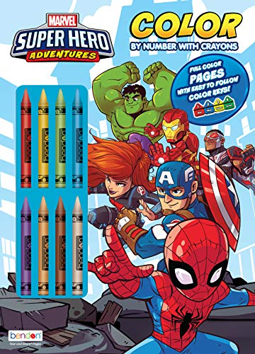 Marvel Super Hero Adventures 32-Page Color by Number Coloring and Activity Book with 8 Crayons, 47530 Bendon